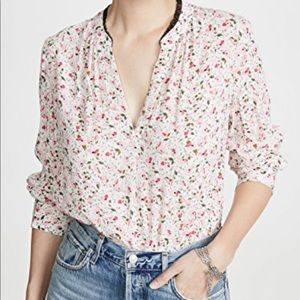 Zoldag & Voltaire Silk Floral and Lace Blouse